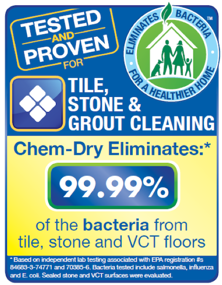 Professional Tile and Stone Cleaning by Tropical Chem-Dry eliminates 99.99% of bacteria from tile, stone, and VCT floors